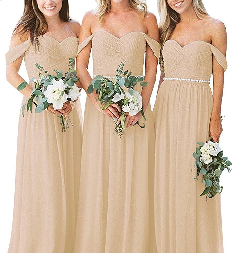 b7f365f8570 Amazon.com  Anna s Bridal Women s Off Shoulder Bridesmaid Dresses Long  Chiffon Maid of Honor Gown Black  Clothing