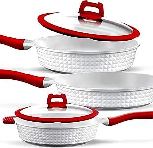 GRIDINLUX. Set de Sartenes 5 Piezas. Aluminio Fundido, Titanio, Cerámica, Sartenes y Tapas, Material Calidad Premium, Resistentes, Aptas para todo tipo de Cocinas: Amazon.es: Hogar