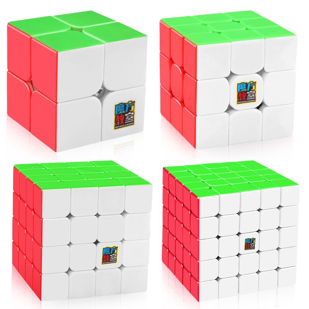 D-FantiX Speed Cube Bundle, Moyu Mofang Jiaoshi MF2S 2x2 MF3S 3x3 MF4S 4x4 MF5S 5x5 Stickerless Magic Cube Set with Gift Box by D-FantiX