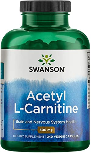 Swanson Acetyl-L-Carnitine Cognitive Health, Nervous System Support, Protection from oxidative Stress, Muscle Health, Workout Enhancer, from Acetyl-L-carnitine HCl 500 mg per Capsule 240 Capsules