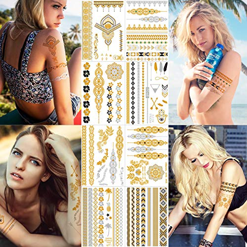 PlayMax Flash Metallic Temporary Tattoos for Women, Girls 8 Sheets Waterproof Hobo Fake Body Art Gold Silver Tattoo Stickers Long Lasting - Jewelry, Bracelet, Henna, Mandala, Mehndi Designs]()