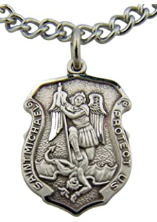 Amazon saint michael shield badge necklace in solid sterling saint michael protect us 1316 inch shield shaped sterling silver medal aloadofball Image collections