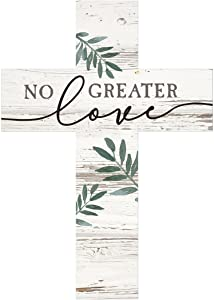 No Greater Love Greenery Whitewash 8.5 x 12 Solid Pine Wood Wall Hanging Cross