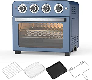 Air Fryer Oven Toaster Oven – 6 in 1 Combo, Convection Roaster with Rotisserie & Dehydrator, 24 QT 1700W for Large Family, Original Recipe and Accessories Included, FDA Stainless Steel. (Blue 24QT 1700W)