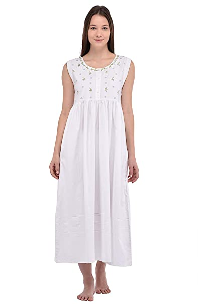 3933623ec3 Cotton Lane White Embroidered Cotton Sleeveless Nightdress  Amazon.co.uk   Clothing