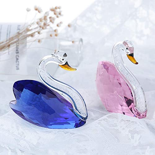 THREE FISH Crystal 2 Pcs Crystal Swan Figurine Collection Cut Glass Ornament Statue Animal Collectible. Blue Pink
