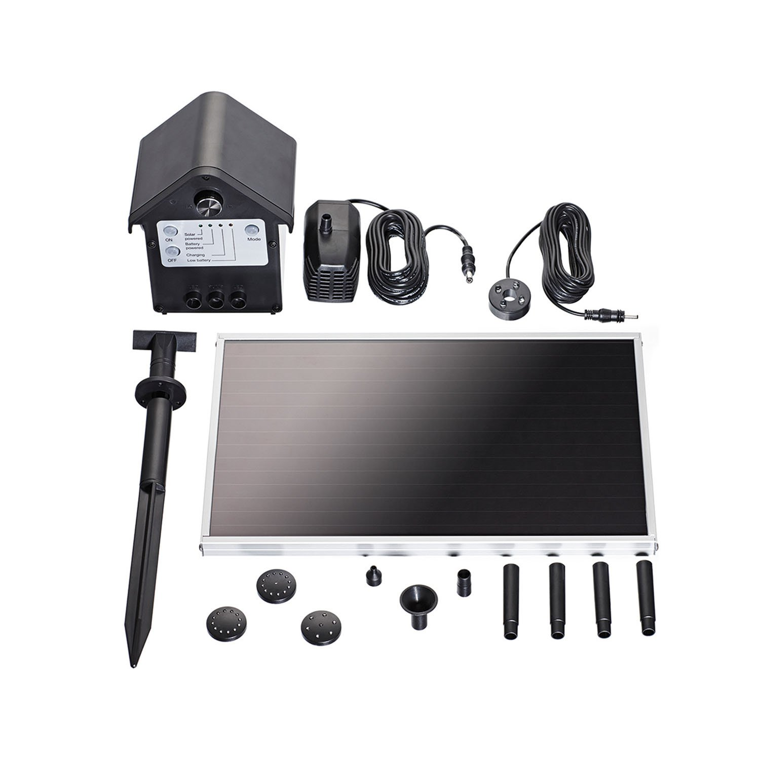 pond boss PF66SOL-B Solar Fountain Pump Kit with Rechargeable Battery, 66 GPH by pond boss
