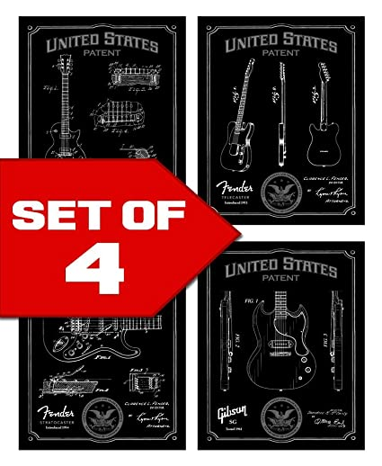 Wallables Black Classic Electric Guitar Patents Decor Set Of Four 8x10 Vintage Guitar Themed Decorative Prints Great For Bachelor Pad Office Living