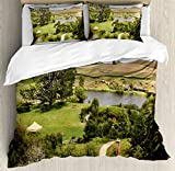Hobbits Duvet Cover Set by Ambesonne, Overhill Matamata New Zealand Movie Set Hobbit Land Village Movie Set Image, 3 Piece Bedding Set with Pillow Shams, King Size, Green Brown