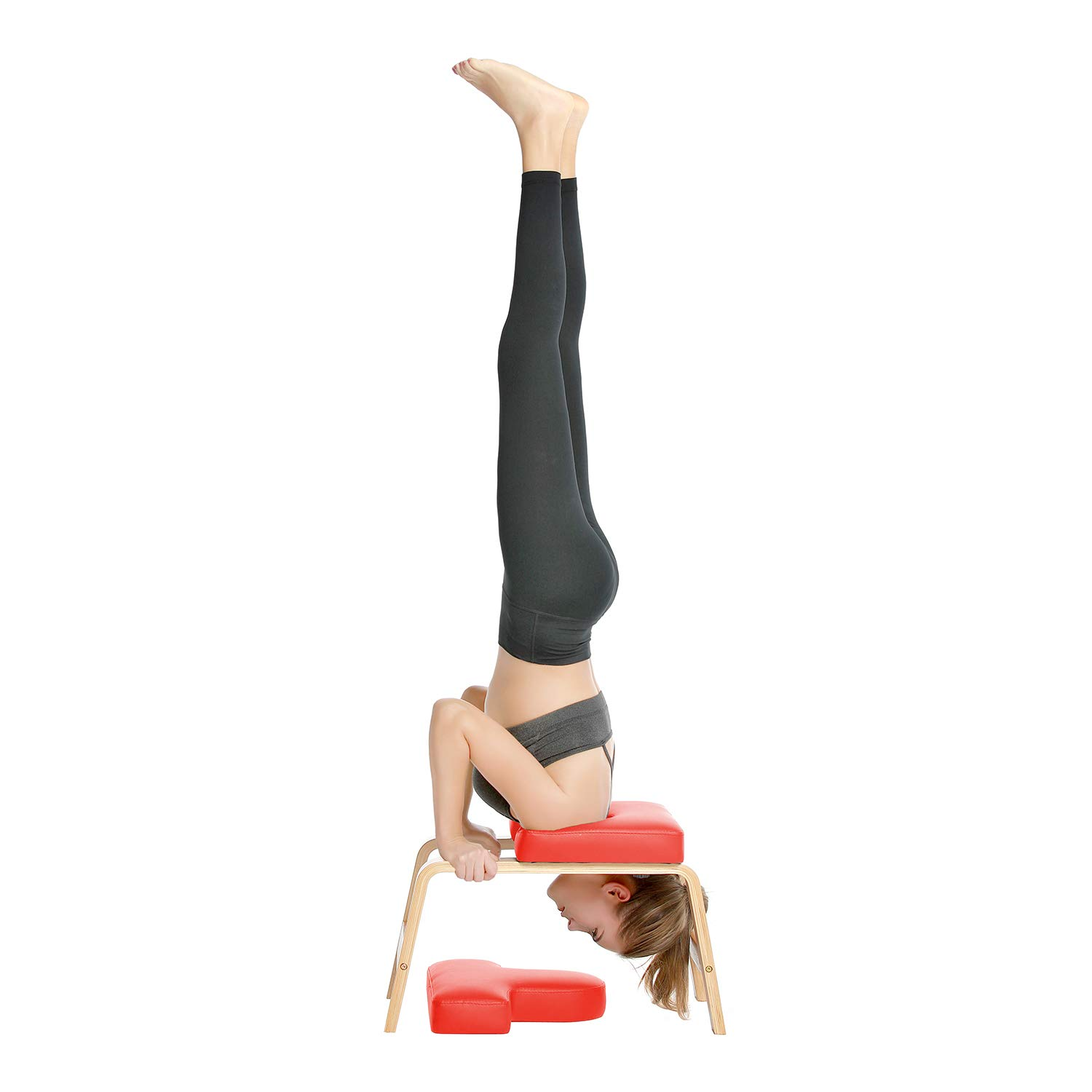 Desire Life Yoga Headstand Bench - Stand Yoga Chair for Family, Gym - Wood and PU Pads - Relieve Fatigue and Build Up Body (Red) by Desire Life (Image #1)