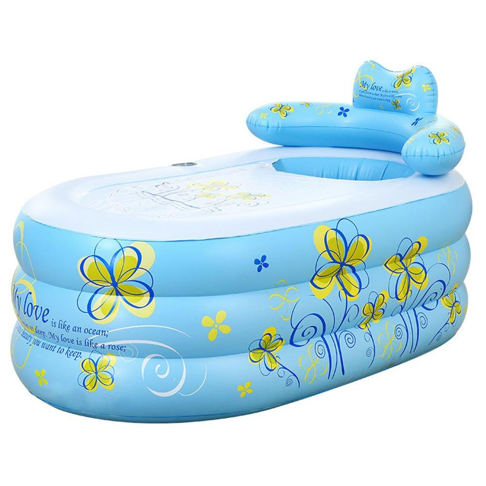 Inflatable bathtub TYCGY Thicken Adult Bathtub Children's Bathtub Folding Bathtub Bathtub Bathtub Swimming Pool (Color : Blue)
