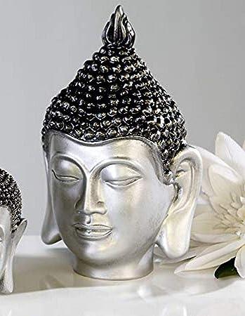 Buddha Kopf aus Poly anthrazit silber Höhe 26cm Buddhakopf