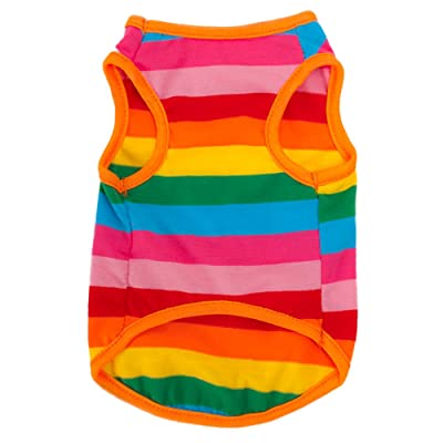 BUYITNOW Rainbow Stripe Pet Vest Breathable Summer Cotton Sleeveless T-Shirt Small Dog Cat Clothes