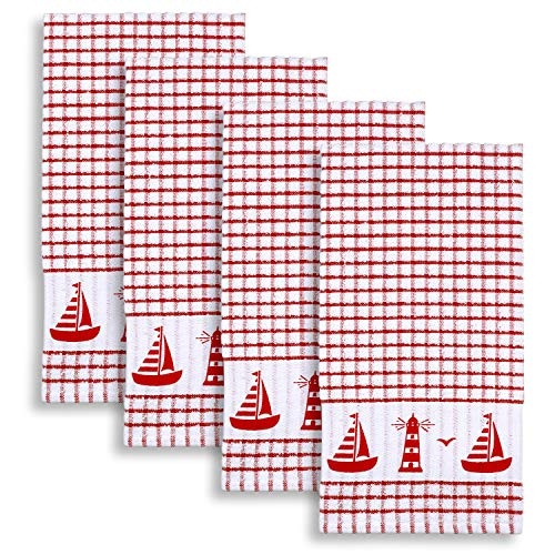 Cackleberry Home Sailboat & Lighthouse Windowpane Check Cotton Terrycloth Kitchen Towels, Set of 4 (Red)