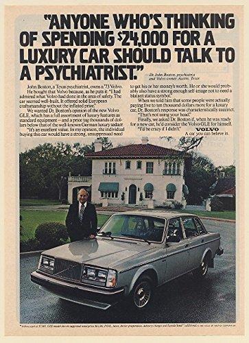 (1980 Volvo GLE Psychiatrist Dr John Boston Austin TX Print Ad)