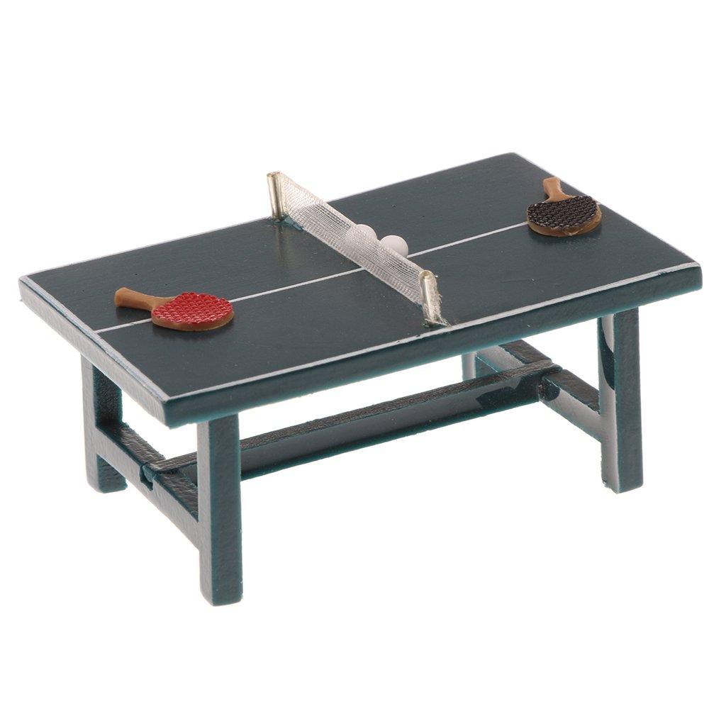 MagiDeal 1/12 Dollhouse Miniatures Furniture Tennis Table Ping Pong Bat & Balls Set