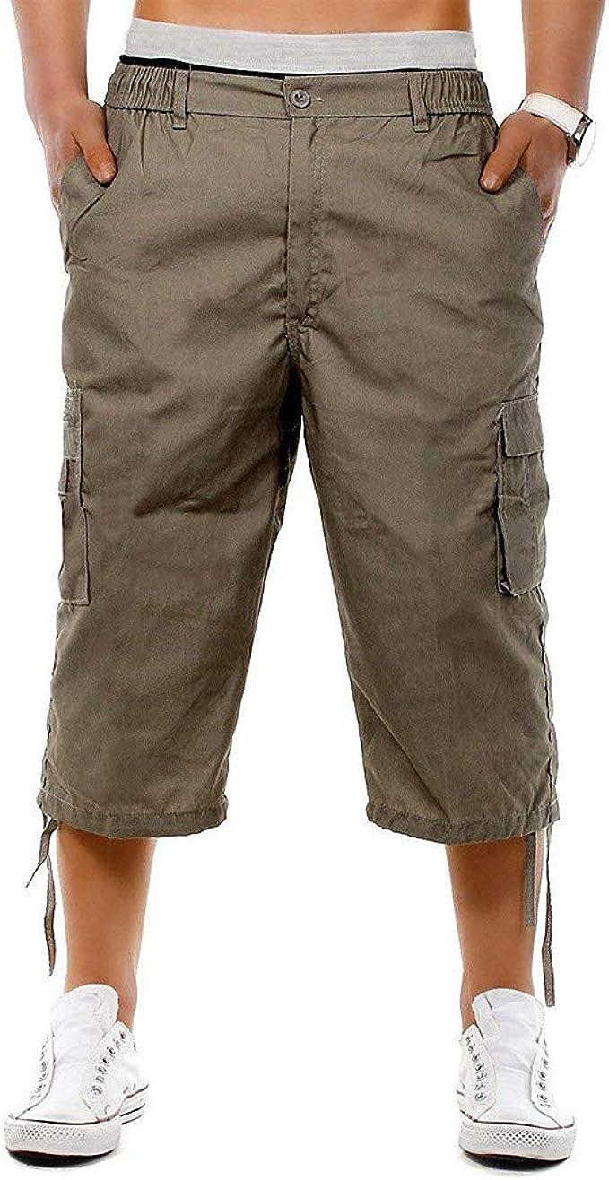 Stylish Men/'s Combat Cargo Shorts Summer Casual Work Pockets 3//4 Capris Pants