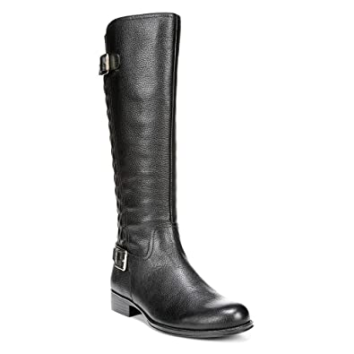 Womens Boots Naturalizer Jalyn Wide Calf Black Pebbled Leather