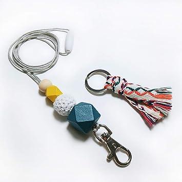 WOOD beaded ID Badge Key Holder BREAKAWAY Minimalist Lanyard