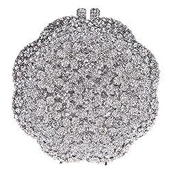 Fawziya Flower Purses And Handbags For Women Crystal Evening Handbags-Silver