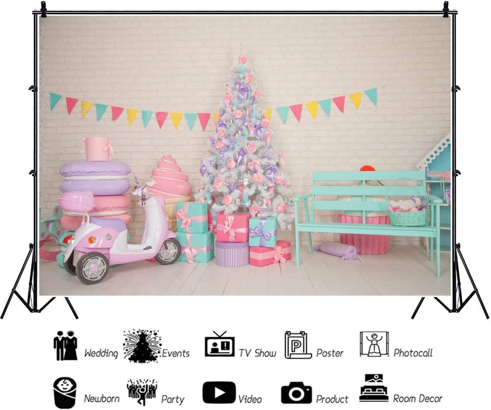 OERJU 10x8ft Interior Decorations Backdrop Colorful Banner Macarons Model Background for Photography Christmas Tree Backdrops for Photoshoot Home Interior Vinyl Wallpaper Kids Portrait Photo Props