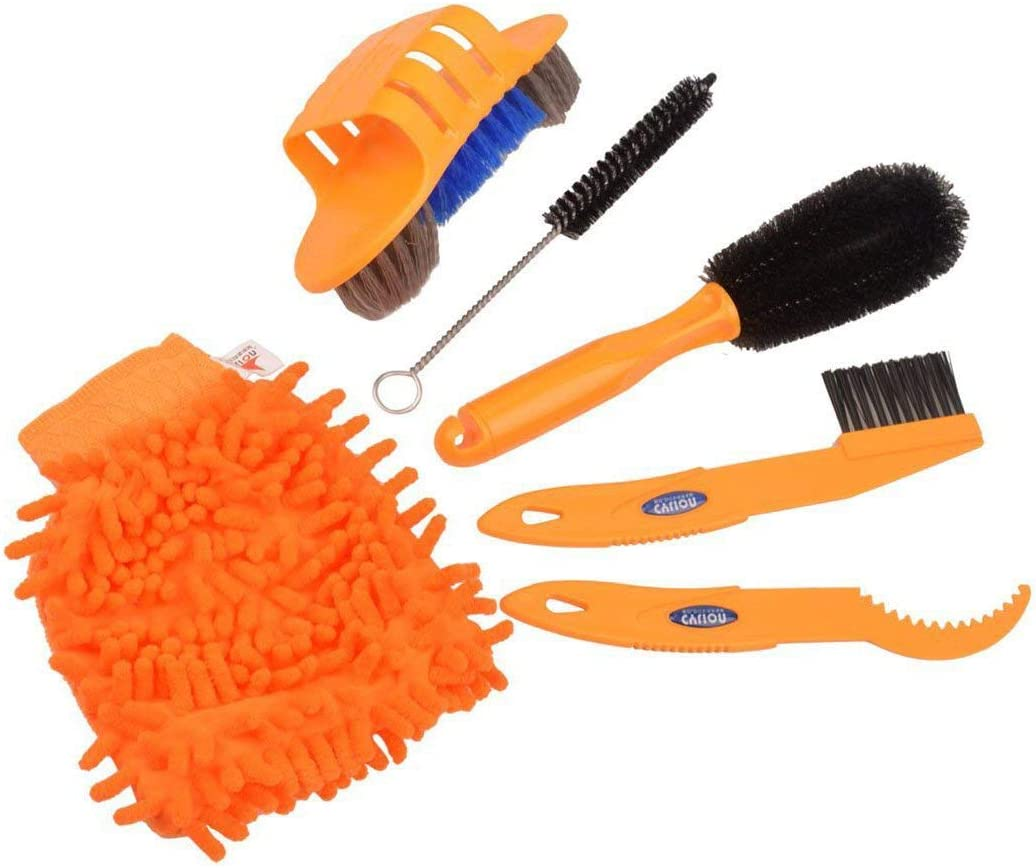 6Pcs Cycling Bike Bicycle Chain Wheel Wash Clean Cleaning Brushes Scrubber Kit