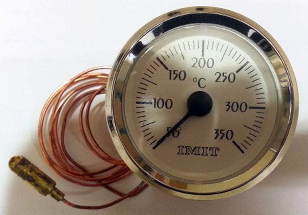IMIT Termómetro para Horno de leña con Bulbo y capilar de 1 Metro, Escala de +50ºC a 350ºC