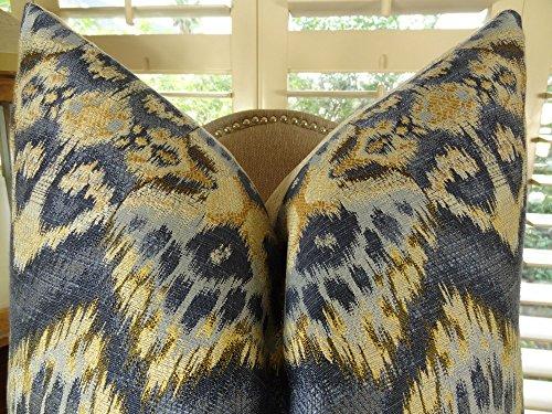 Designer Zig Zag Ikat Throw Pillow - Navy Blue Tan Indigo Ikat Accent Pillow - Wavy Ikat Throw Pillow - Modern Ikat Pillow - 11082