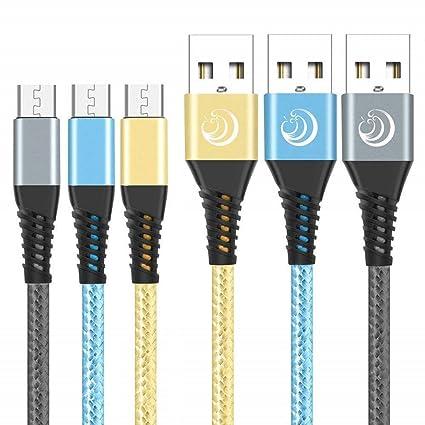 Amazon.com: yosou c - Cable cargador micro USB (6.6 ft, 3 ...