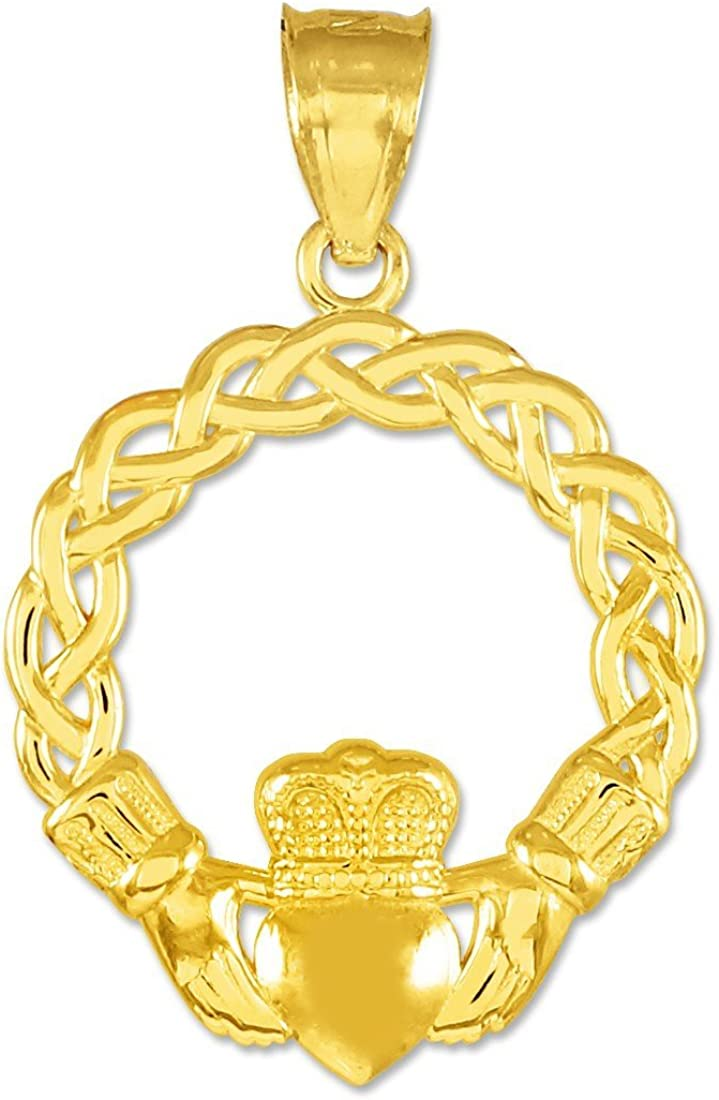 Solid 10k Yellow Gold Claddagh Pendant Necklace