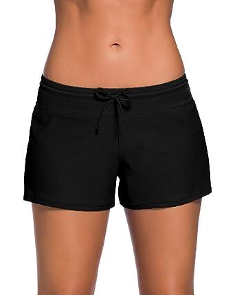 nuovi stili 5bc65 a2512 Lau's Pantaloncini da bagno per donna - costumi pantaloncino mare con  coulisse y slip interno