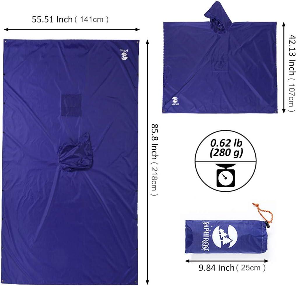 SHOULIEER 3 en 1 Poncho de Pluie à Capuche imperméable Veste imperméable pour Hommes Femmes Adultes Tapis de Tente extérieure Green(3 in 1)