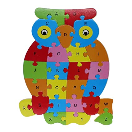 26pcs Wooden Puzzle Educational Toys Cartoon Animal Puzzles Alphabet Learning