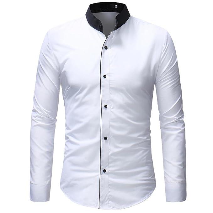 Camiseta para Hombre, Blusa Superior Manga Larga con Estampado Rayas Casual De Otoño Invierno De