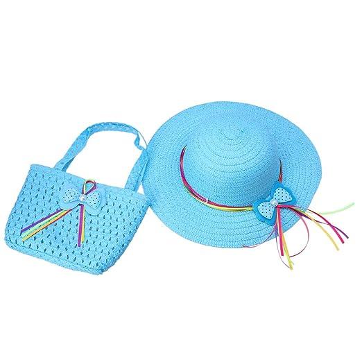 4 opinioni per ACVIP Bimba e Bambina Cappello da Sole e Borsetta in Paglia con Decorativo