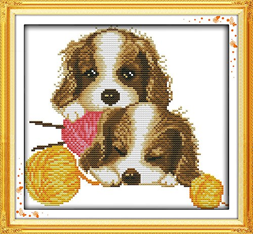 (Full Range of Embroidery Starter Kits Stamped Cross Stitch Kits Beginners for DIY Embroidery with 40 Pattern Designs - Dogs)