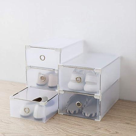 STAC Caja de Zapatos de plástico translúcido Caja de Zapatos Tipo cajón para Hombre y Mujer Caja de Almacenamiento de Zapatos Tipo Zapatos Zapatos Sencillos Estilo gabinete: Amazon.es: Hogar