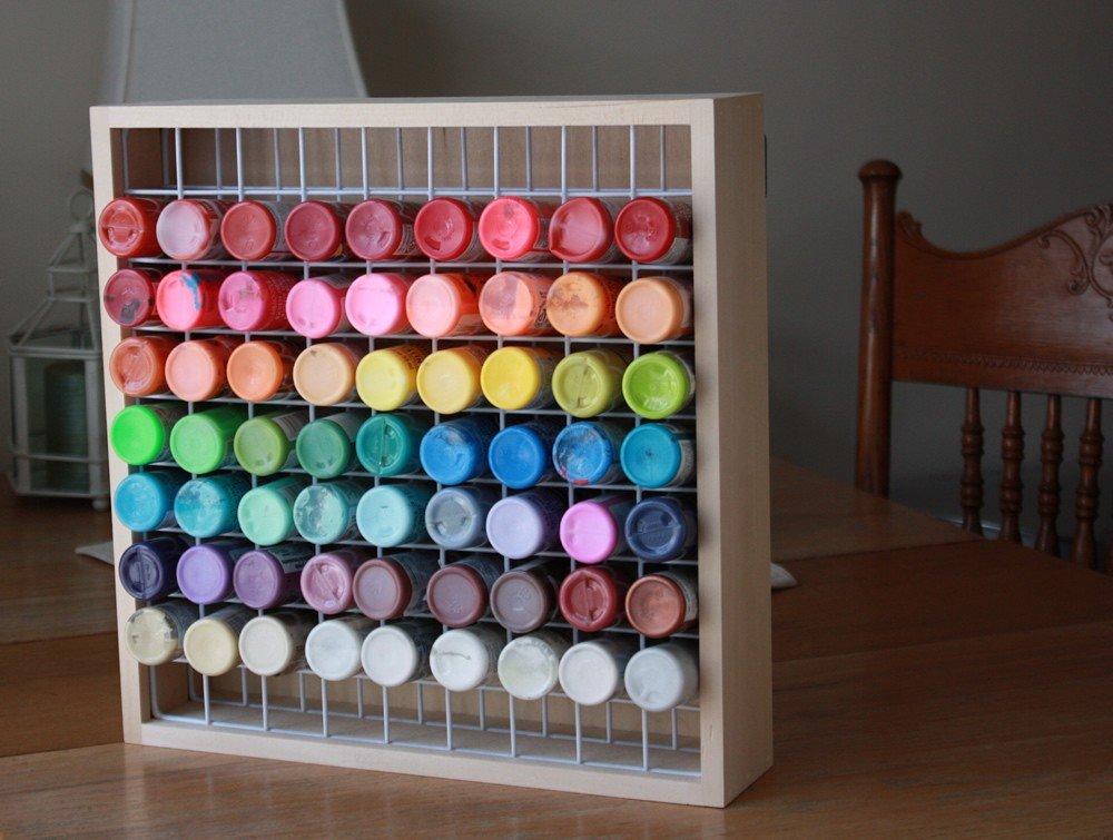 Superieur Amazon.com: Wooden Craft Paint Storage Rack   Holds 81 Standard Size 2oz.  Bottles Of Paint.