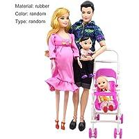Baynne 5 Personas Juego de Muñecas Muñeca Embarazada Familia Mamá + Papá + Bebé Hijo + 2 Niños + Carro de Bebé Juguetes de Regalo de Navidad Juguetes para Niños Juguetes para Niños