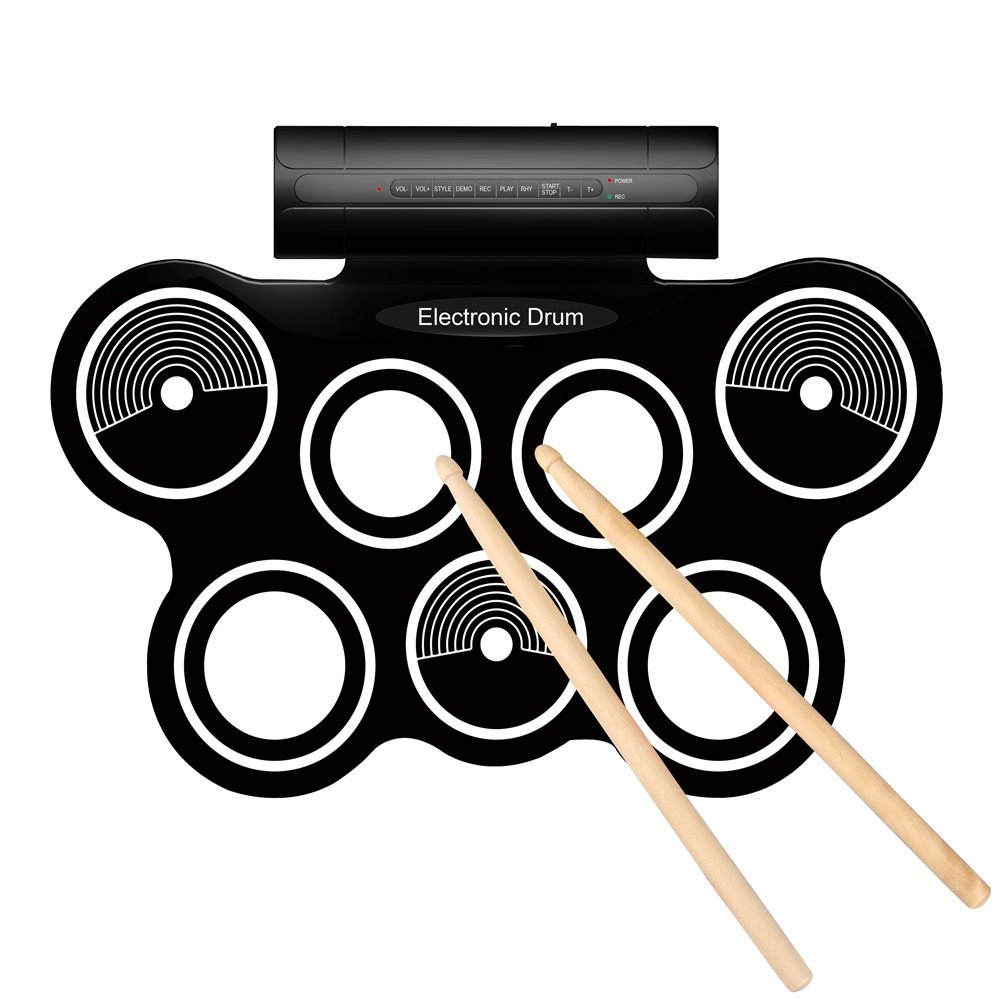 Flexzion Portable Roll Up Drum Pad Set Kit with Built-in Speaker - Digital Electronic Foldable Flexible Silicone Sheet 7 Pads with Drum Stick and Foot Switch Pedal Supports USB MIDI output