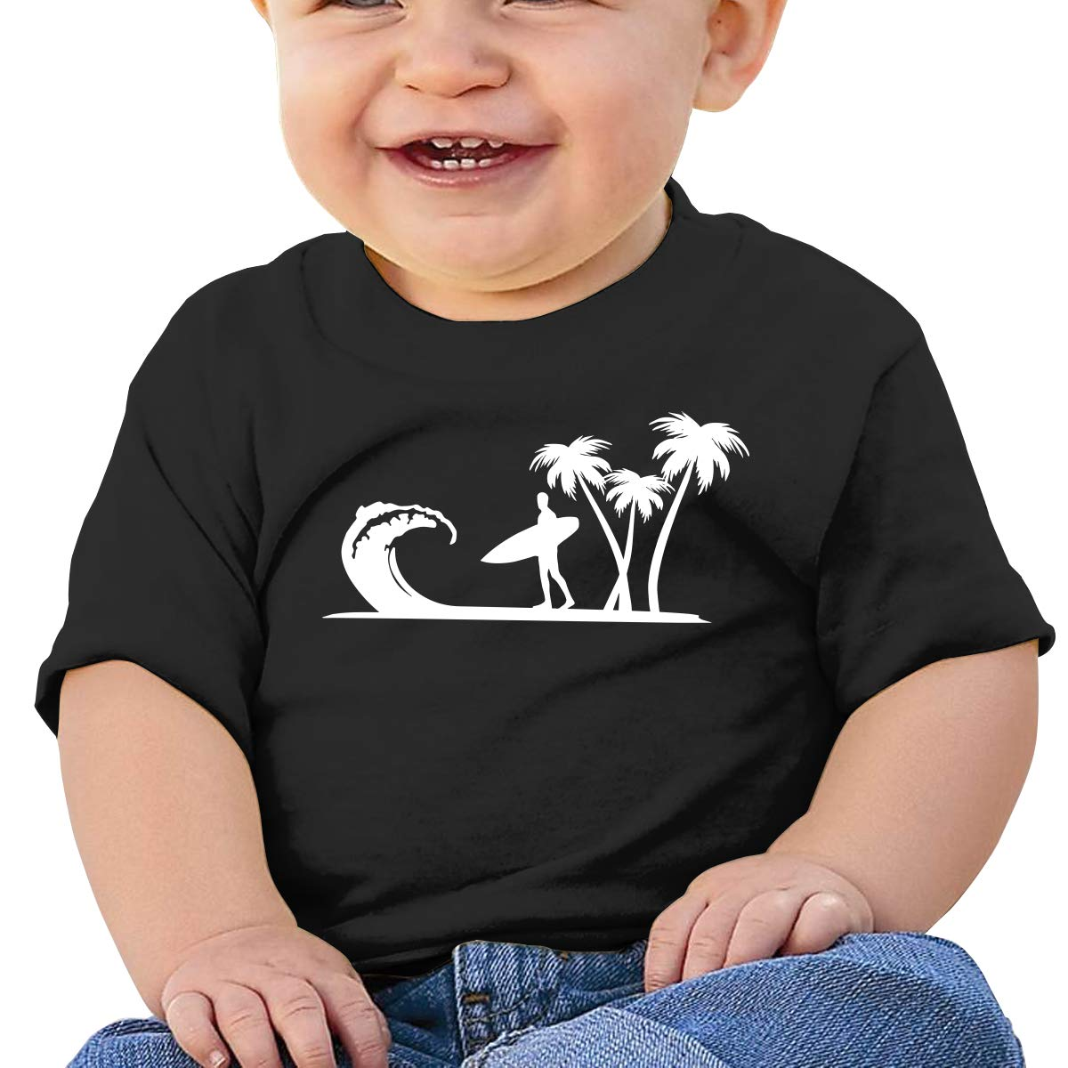 Surfer Palm Trees Newborn Baby Newborn Short Sleeve Tee Shirt 6-24 Month Soft Tops