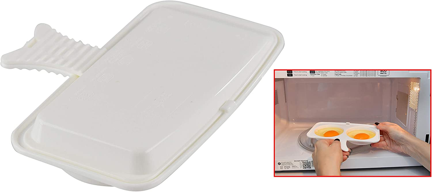HOME-X Microwave Egg Poacher, Poached Eggs Made Easy, Great for Burgers, Breakfast Sandwich Pan for Eggs in a Minute or Less-BPA Free-Dishwasher Safe