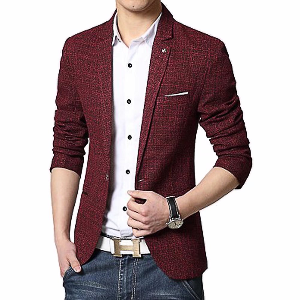 BiSHE Men`s Linen Stylish Blazer Light Weight One Button Slim Fit Smart Formal Suits Jacket BSJK330