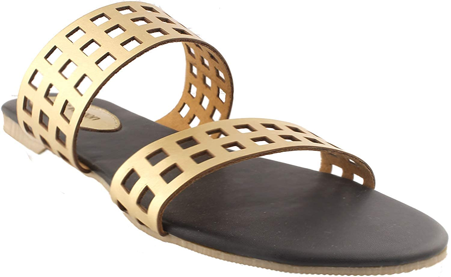 Buy Typo Gold Flats Gold  Gold Sandals