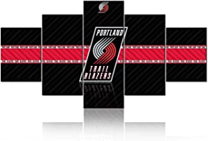 NBA Pictures for Wall Art Paintings 5 Piece Canvas Living Room Decor Basketball Team Logo - Portland Trail Blazers Artwork Decoration Poster Prints Framed and Stretched Ready to Hang - 60''Wx32''H