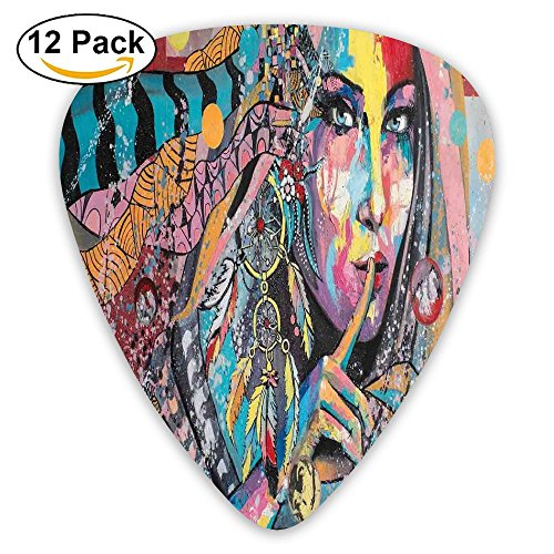 (Newfood Ss Sexy Girl With Tribal Dreamcatcher And Ethnic Murky Oriental Bohemian Paint Decorative Guitar Picks 12/Pack Set)