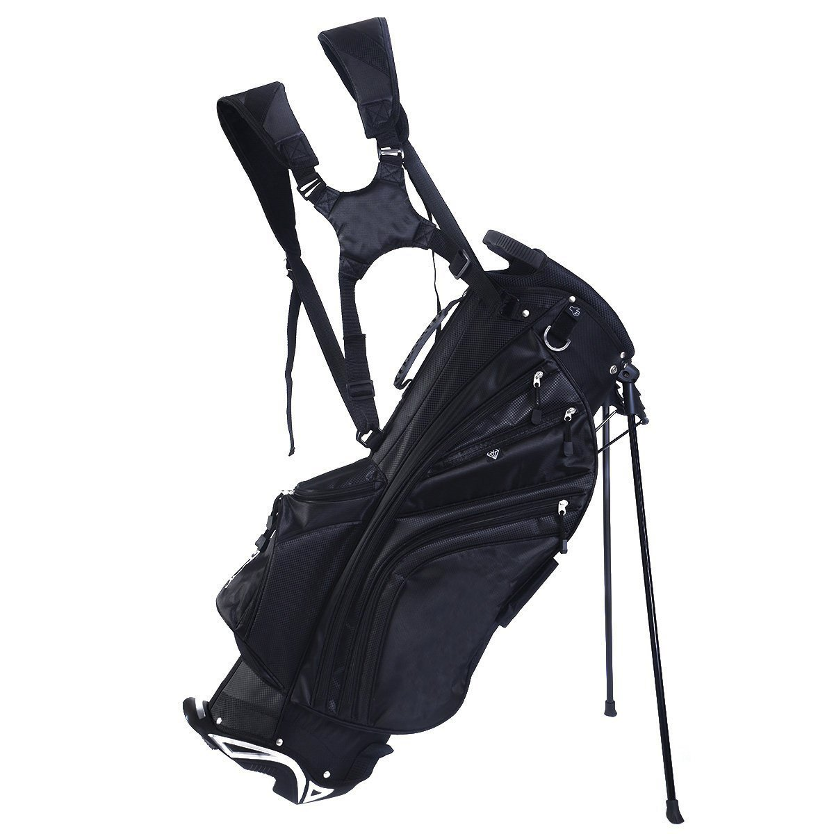 TANGKULA Hyper Lite Golf Stand Bag w/Shoulder Strap Rain Cover Blk & White 6 Way Divider by TANGKULA