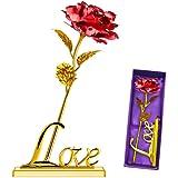 YIHAO 24K Rosa Placcato Oro Rosa Fiore Con Confezione Regalo Migliore Regalo Per San Valentino, Festa Della Mamma Natale Compleanno D' Rosso