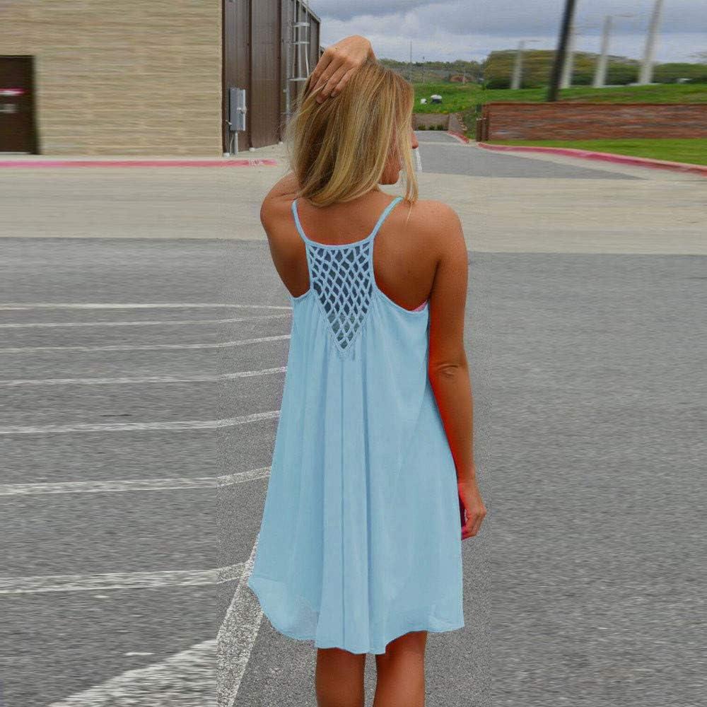 Women Summer Dress,LIM/&Shop Women Spaghetti Strap Back Dress Howllow Out Summer Dress Chiffon Beach Short Dress 2019