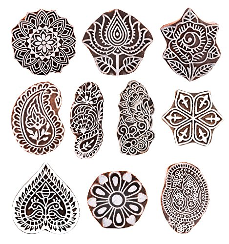 Hashcart Printing Stamps Mughal Design Wooden Blocks (Set of 10) Hand-Carved for Saree Border Making Pottery Crafts Textile Printing - Pottery Impressions